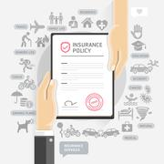 Insurance policy services. Hands give insurance document paper. Vector Illust Stock Illustration