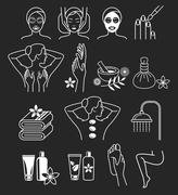 Spa Massage Therapy Skin Care & Cosmetics Services Icons. Vector Illustration Stock Illustration