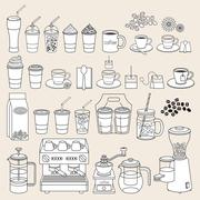 Coffee doodle icon style. Vector illustration. Stock Illustration