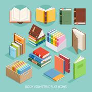 Book Isometric Flat Icons set. Vector Illustration. Stock Illustration