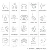 Business management conceptual icons. Vector thin line style. Stock Illustration