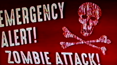 Emergency Alert Zombie Attack Vintage Film Damage Stock Footage