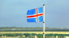 Iceland flag waving on the mast of the ship Stock Footage