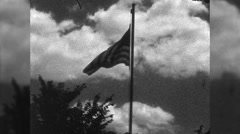 American Flag Waves on Pole National Pride US 1960s Vintage Film Home Movie 9937 Stock Footage