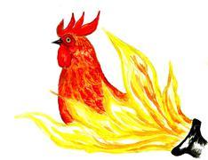 Fancy Rooster Art - stock illustration