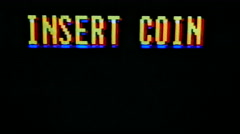 Insert Coin Classic Arcade Screen Damage Stock Footage
