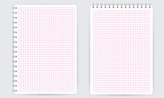 Blank spiral notepad notebook. Thin squared math grid lines Stock Illustration