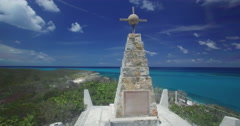 Aerial of Christopher Colombus monument on Long Island Stock Footage