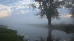 Amazing foggy morning at a small river Arkistovideo