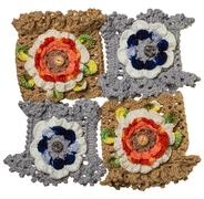 Four hand-knitted bracelets with flower Stock Photos