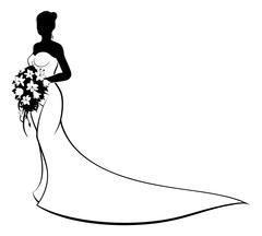 Wedding Bride Silhouette Holding Flowers Stock Illustration