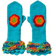 Knitted blue mittens with flowers Stock Photos