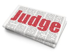 Law concept: Judge on Newspaper background - stock illustration