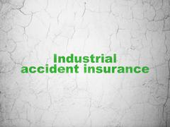 Insurance concept: Industrial Accident Insurance on wall background - stock illustration
