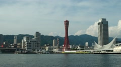 View of Kobe bay with Port Tower. 4K resolution speed up. Stock Footage