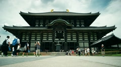 Visitors in front of Great Buddha Hall at Todai-ji Temple. Stock Footage