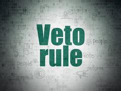 Political concept: Veto Rule on Digital Data Paper background - stock illustration