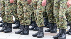 Military troops standing in line Stock Footage