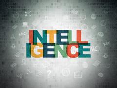 Studying concept: Intelligence on Digital Data Paper background - stock illustration