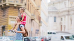 Family in Europe. Happy father and little adorable girl in Rome during summer Stock Footage