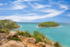Promthep cape viewpoint at blue sky in Phuket,Thailand in a bright day Stock Photos