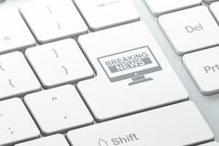 News concept: Breaking News On Screen on computer keyboard background - stock illustration