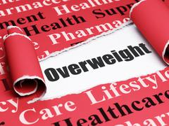 Health concept: black text Overweight under the piece of  torn paper - stock illustration