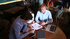 Young business team agree, enter contract agreement treaty, reso Stock Footage