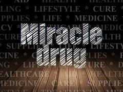 Medicine concept: Miracle Drug in grunge dark room - stock illustration