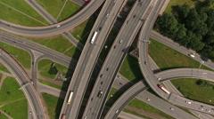 Multi-level stack interchange in Rybatskoe district, St. Petersburg, Russia Stock Footage