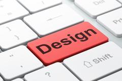 Marketing concept: Design on computer keyboard background Stock Illustration