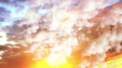 Fly through storm clouds at sunset. Low light cloudscapes background Stock Footage
