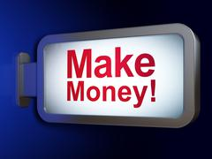Business concept: Make Money! on billboard background - stock illustration