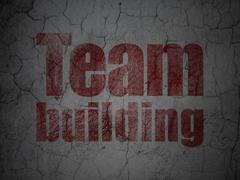 Business concept: Team Building on grunge wall background - stock illustration