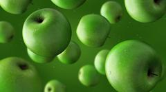 Falling green apples and water drops. 3D rendering Stock Illustration