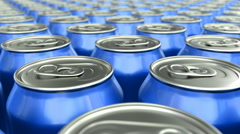 Blue soda cans 3D animation seamless loop - stock footage