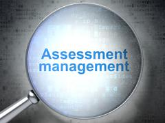 Business concept: Assessment Management with optical glass Stock Illustration