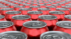 Red soda cans 3D animation seamless loop - stock footage