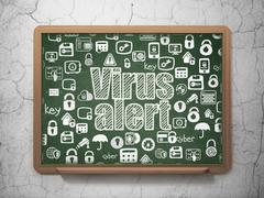 Safety concept: Virus Alert on School board background - stock illustration