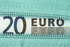 Twenty Euro and zipper Stock Photos