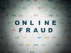 Safety concept: Online Fraud on Digital Data Paper background - stock illustration