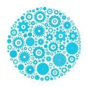Cog wheels arranged in circle Stock Illustration