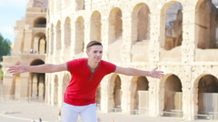 Young father and little girl having fun background Colosseum, Rome, Italy Stock Footage