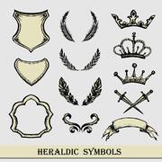 Heraldic symbols, hand drawing, Stock Illustration