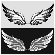 Set Wings,hand drawing Stock Illustration