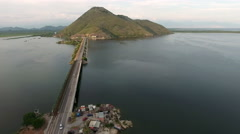 Area of Montenegrin part of Skadar lake and dam with railway and highway Stock Footage