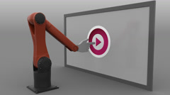 Robot arm clicking Play button. Seamless loop, 4K clip, ProRes Stock Footage
