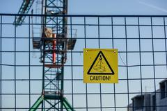 Caution sign at a construction site Stock Photos