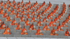 Thai monks during Buddhist ceremony in Bangkok, Thailand Stock Footage