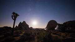 Moonset Timelapse With Milky Way and Perseid Meteor Shower Stock Footage